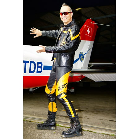 50l Suit - Laminated Poster Leather Suit Fly Man Human Wing Aircraft Poster Print 11 x 17