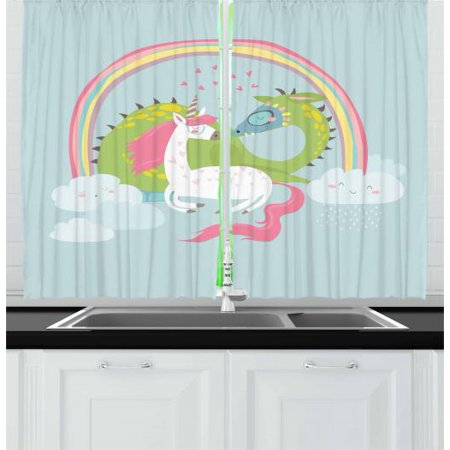 Kids Girls Curtains 2 Panels Set, Love of Dragon and Unicorn Couple Magical Romance Flirting Baby Cartoon, Window Drapes for Living Room Bedroom, 55W X 39L Inches, Baby Blue Pale Pink, by Ambesonne