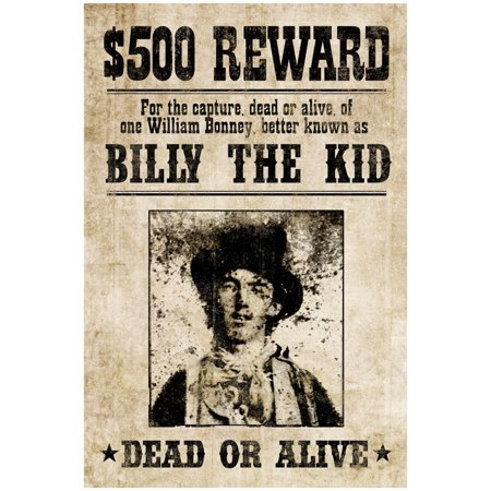 Billy The Kid Western Wanted Sign Print Poster - 13x19 Billy The Kid Wanted Poster