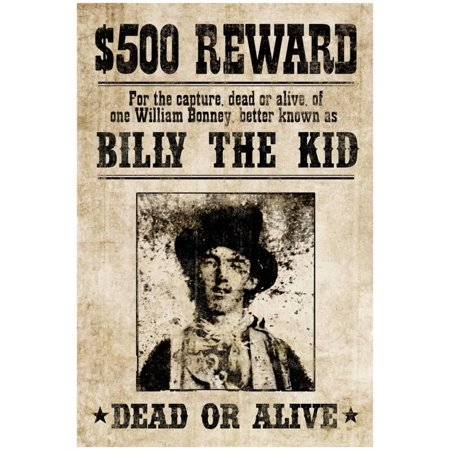 Billy The Kid Western Wanted Sign Print Poster - (Western Wanted Poster)