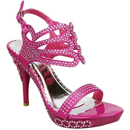 Jeweled Open Toe Strappy Rhinestone Platform High Heel Sandal Shoes
