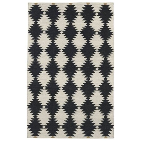 Wrought Studio Marble Falls Black & Cream Geometric Area Rug