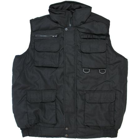 - Black Mens Winter Outdoor Cotton Padded Waterproof Vest Multi Pocket