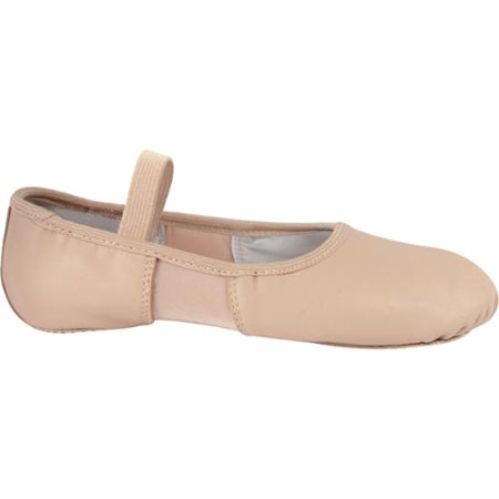 Pink Leather Spandex Split Sole Elastic Strap Ballet Shoes 5-12