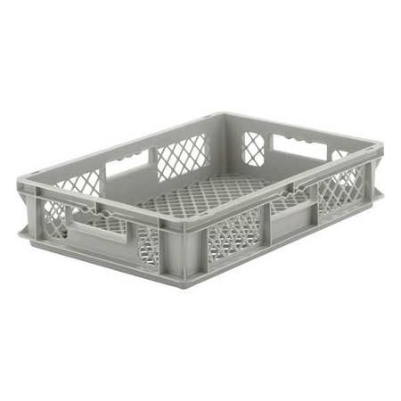 Ssi Schaefer 33 lb Capacity, Grated Wall Stacking Container, Gray EF4123.GY1