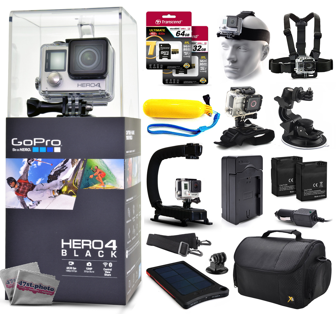 GoPro Hero 4 HERO4 Black CHDHX-401 with 96GB Ultra Memory + Solar Charger + Headstrap + Chest Harness + Floaty Bobber + Suction Cup + Opteka X-Grip + Large Padded Case + Two Batteries + Much More GPH4BNEW96GBK10