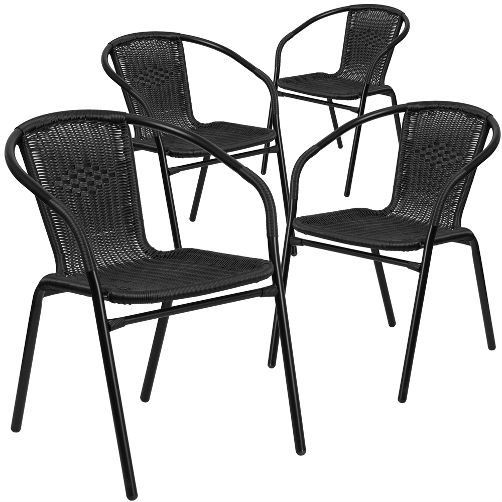 4 Pk. Black Rattan Indoor-Outdoor Restaurant Stack Chair
