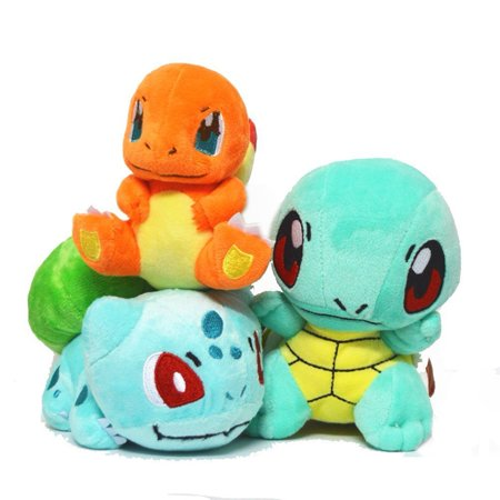 PokeGift Mega Bulbasaur Charmander Squirtle Plush Toys Stuffed Doll Set w/Badges (Wendy Plush Doll)
