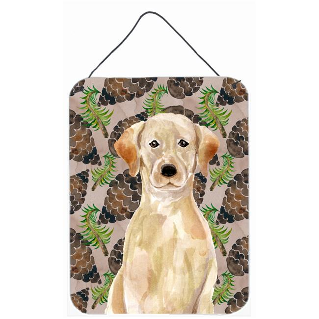 Carolines Treasures BB9576DS1216 Yellow Labrador Pine Cones Wall or Door Hanging Print - image 1 de 1