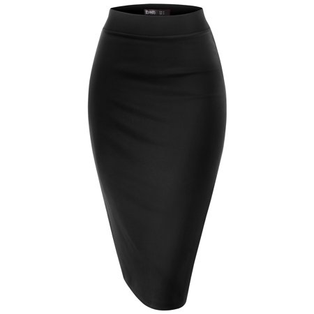 Thanth Womens Waist Band Streychy Solid Pencil Skirt(Plus Size Available) - Plus Size Hippie Skirts