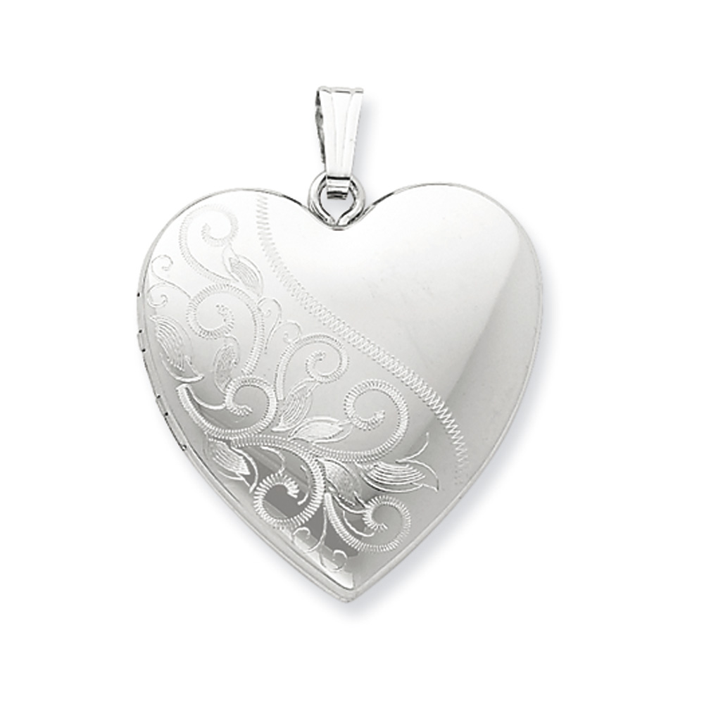 Sterling Silver 24mm Scrolled Heart Family Locket by Generic