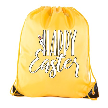 Easter Basket Bags, Bulk Drawstring Backpacks, Party Favor Goody Bags for Easter - Peaking Bunny - Brown Party Supplies