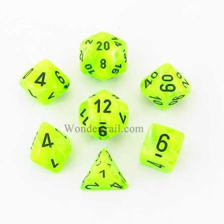 Green Vortex Dice with Black Numbers 16mm (5/8in) Set of 7 Chessex