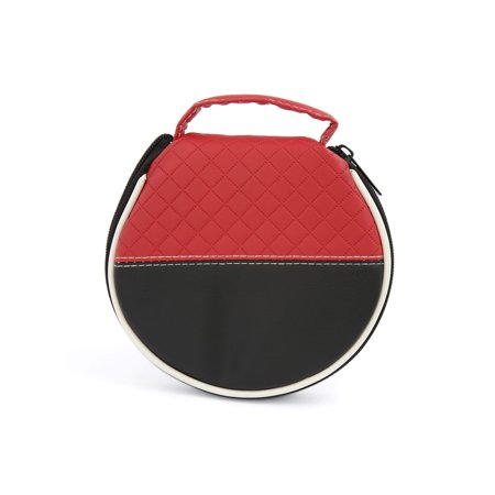 Black Red Faux Leather Zipper Closure 20 Capacity CD DVD Storage Organizer Bag