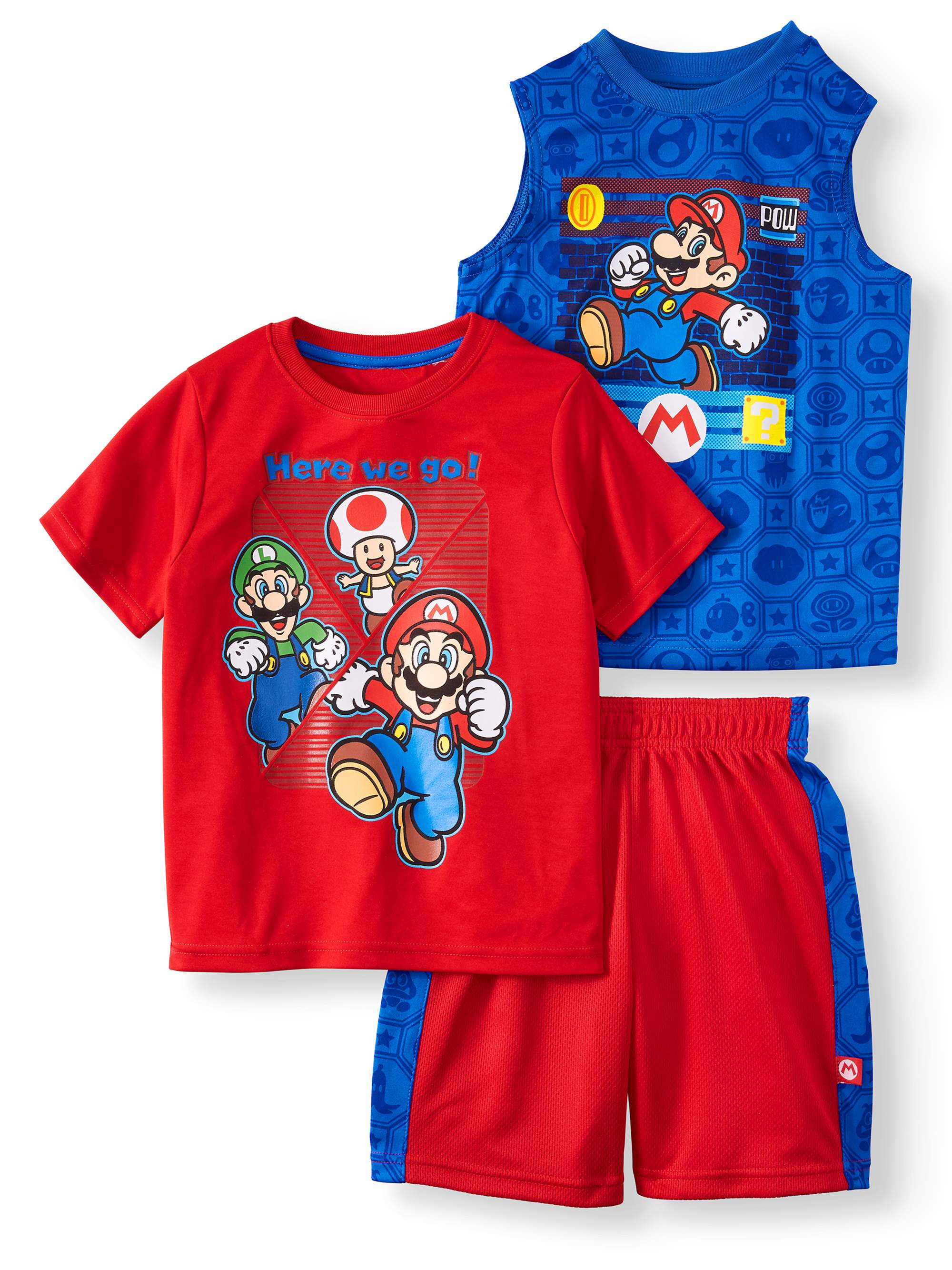 Super Mario Performance Tee, Muscle Tank, and Shorts, 3-Piece Outfit Set (Little Boys)