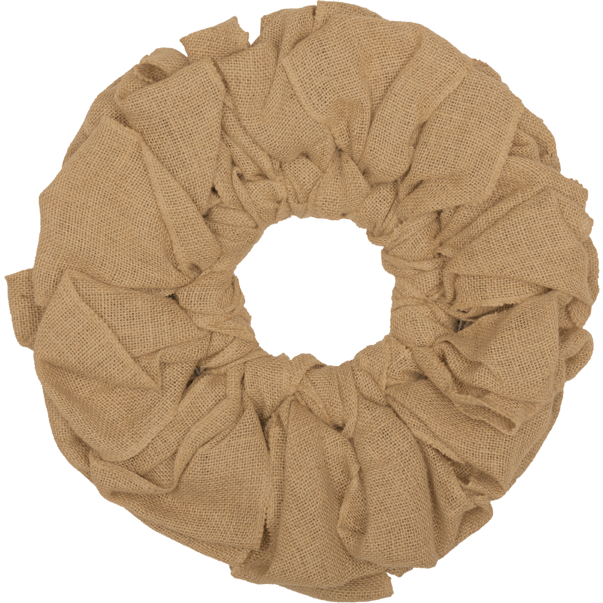 "Natural Tan Farmhouse Christmas Decor Burlap Wreath Twine Jute Metal Frame Round 15"" Diameter Wreath"