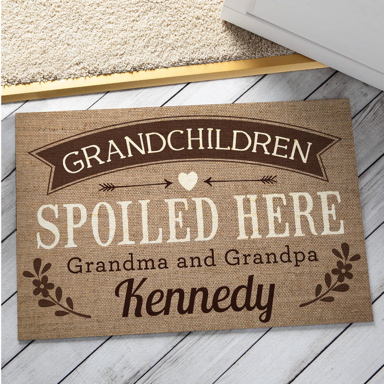 Personalized Doormat - Grandchildren Spoiled Here Welcome Mat