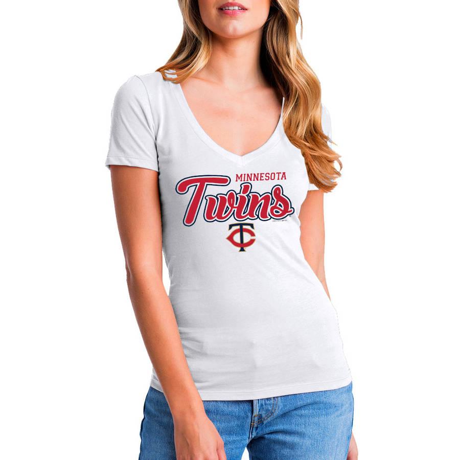 MLB Minnesota Twins Women's Short Sleeve White Graphic Tee