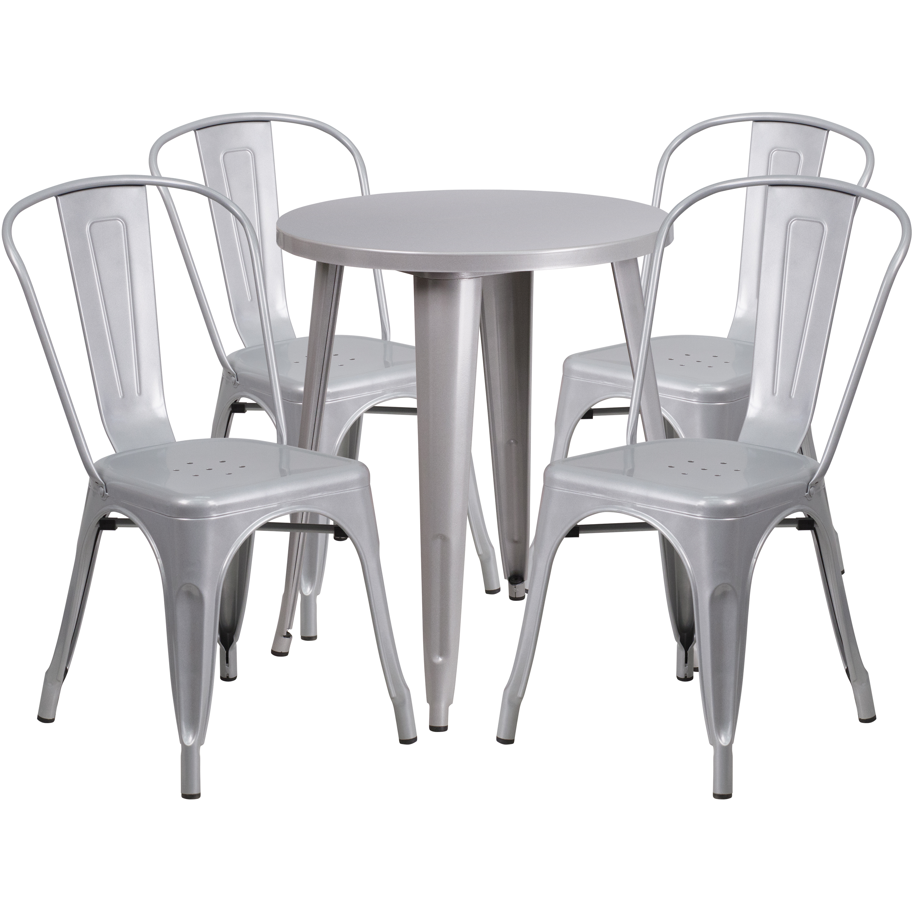 """Flash Furniture 24"""" Round Metal Indoor-Outdoor Table Set with 4 Cafe Chairs, Multiple Colors"""