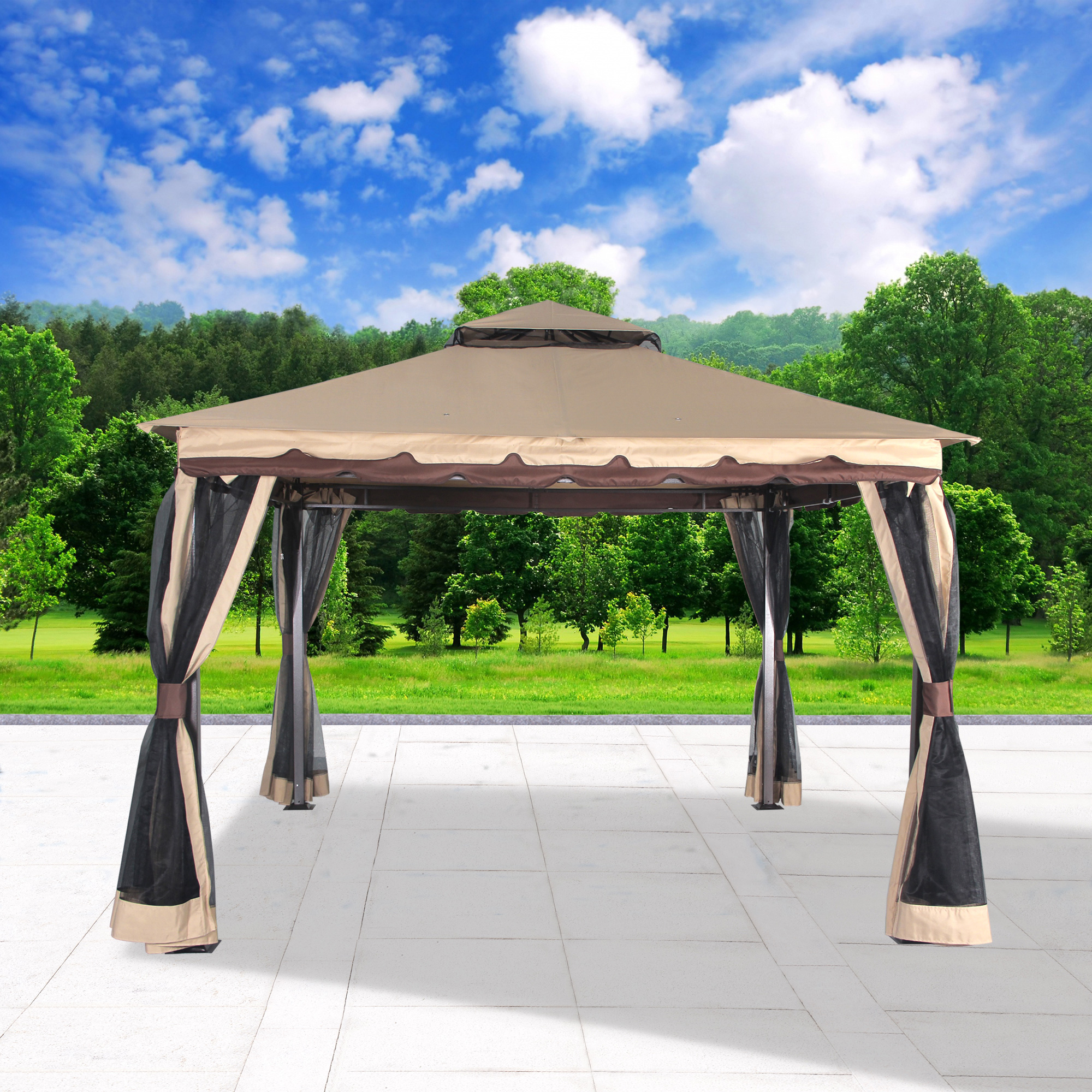 "Cloud Mountain Garden Gazebo Polyester Fabric 130"" x 130"" Patio Backyard Double... by Cloud Mountain"