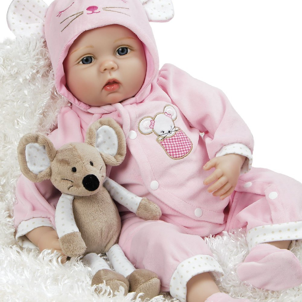 "Paradise Galleries Lifelike Realistic Soft Vinyl Weighted 21 inch Baby Girl  Doll Gift ""Mia Mouse"" Great to Reborn"
