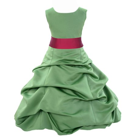 Ekidsbridal Formal Satin Clover Green Flower Girl Dress Christmas Holiday Bridesmaid Wedding Pageant Toddler Recital Easter Communion Birthday Baptism Occasions 2 4 6 8 10 12 14 16 806s - Girls Size 8 Christmas Dress
