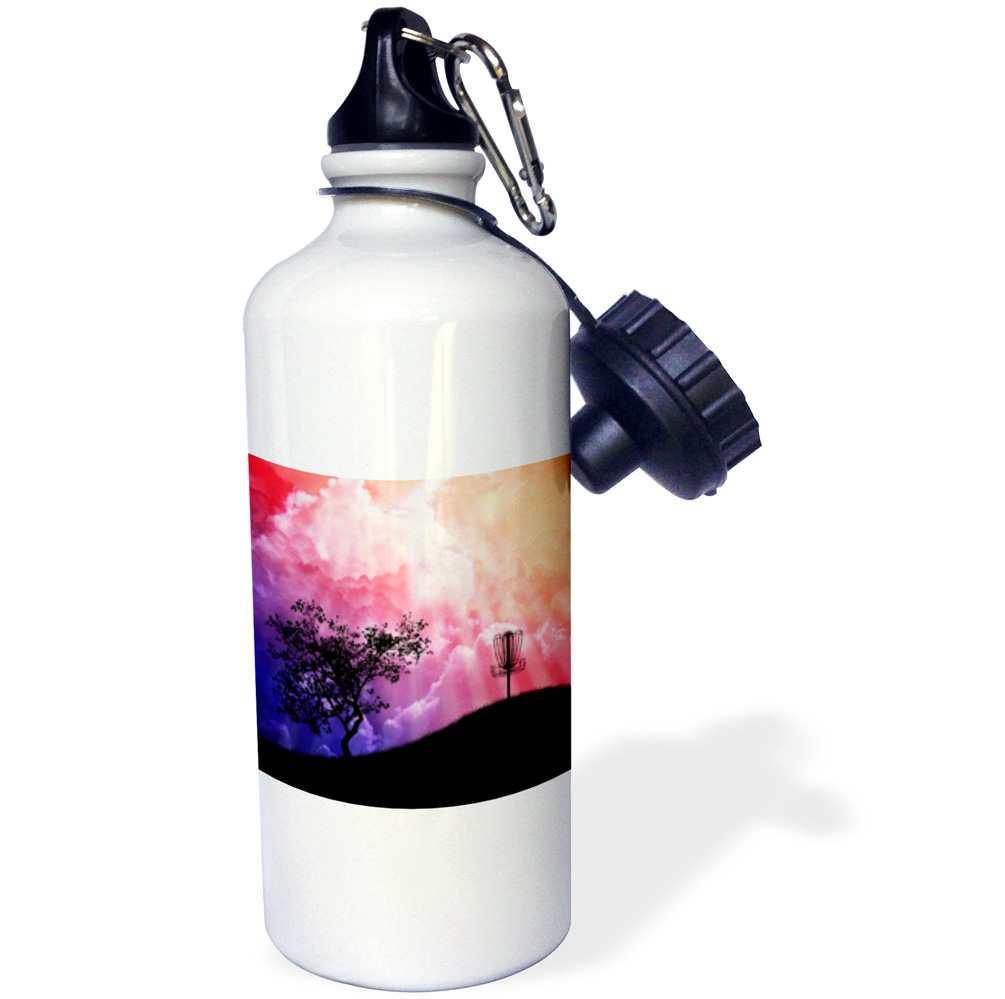 3dRose Basket On A Hill silhouette of a frisbee disc golf basket with chain on colorful hill, Sports Water Bottle, 21oz