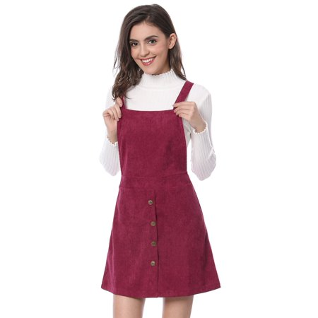 Women Corduroy Button Decor A Line Suspender Overall Dress Skirt Burgundy L (US 14)