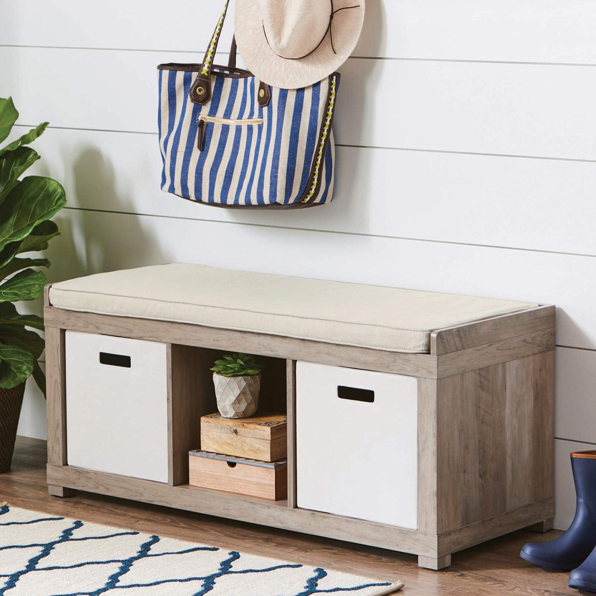 Better Homes And Gardens 3 Cube Organizer Storage Bench Rustic Gray Walmart Com Walmart Com