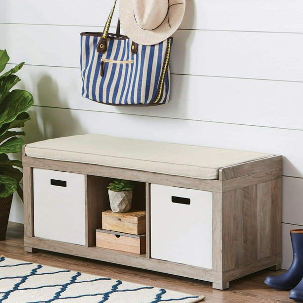 Better Homes & Gardens 3-Cube Organizer Storage Bench, Rustic Gray