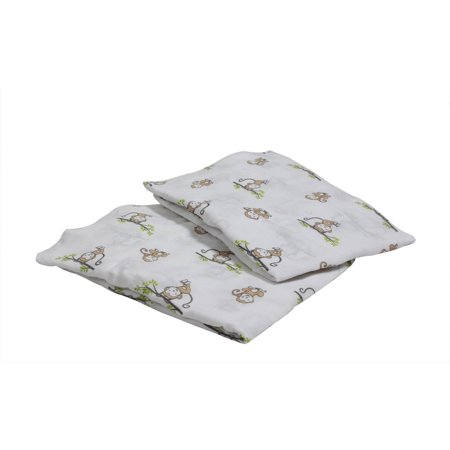 Happy Monkey - Bacati - Happy Monkeys Crib/Toddler Bed Fitted Sheets 100% Cotton Muslin 2 Pack, Beige