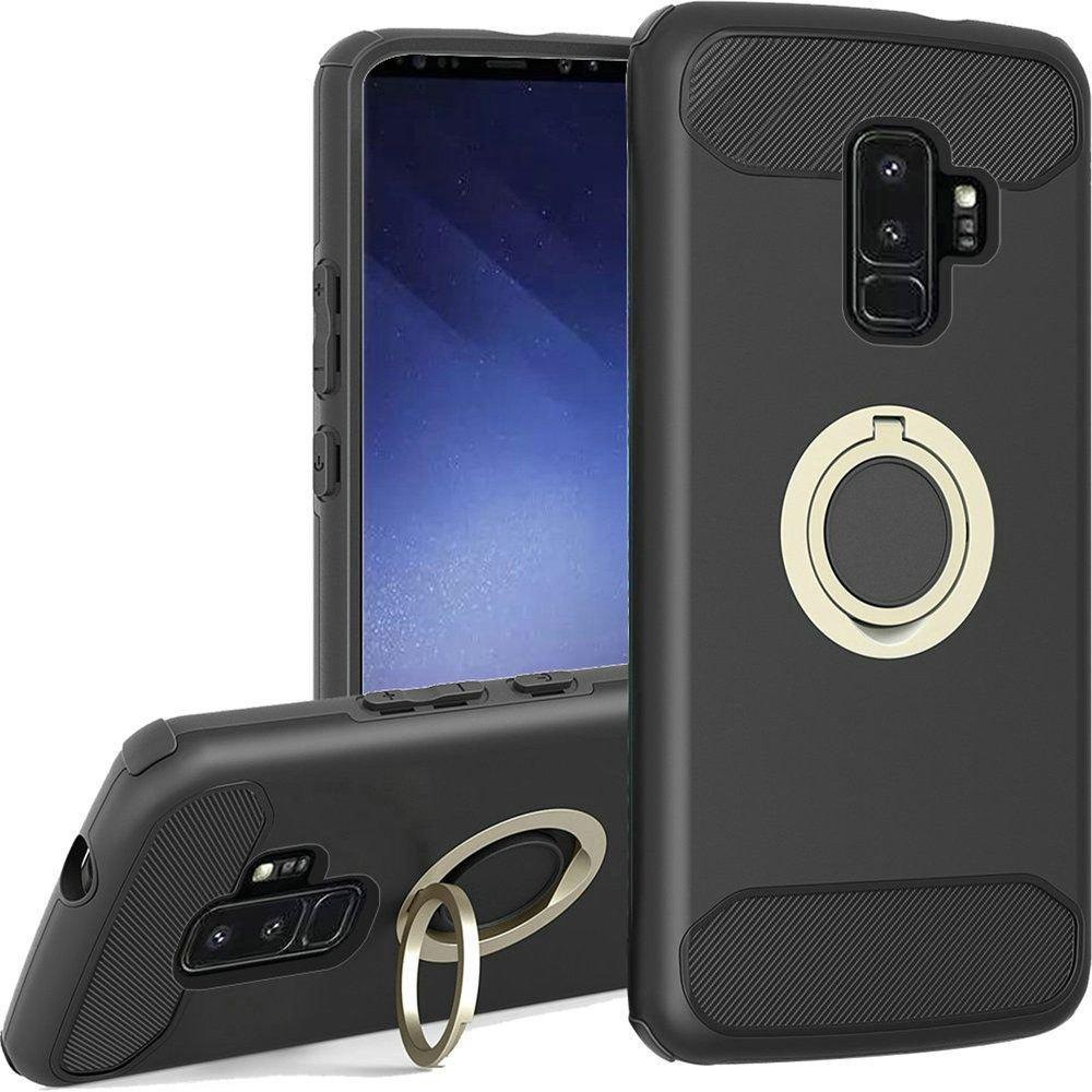 new style 623c1 0705f Insten Dual Layer Hybrid Ring stand Hard Snap-in Case Cover For Samsung  Galaxy S9 Plus S9+ - Black (Bundle with USB Type C Cable)
