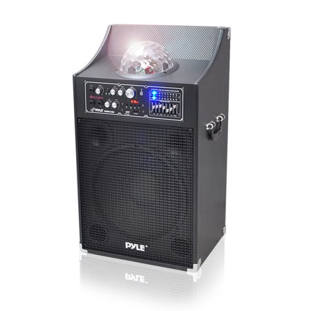 Pyle 1000 Watt Disco Jam Powered Two-Way PA Speaker System with USB/SD Readers, FM Radio, 3.5 mm AUX Input, Microphone Inputs and Flashing DJ Lights
