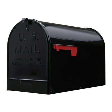 Gibraltar Mailboxes Stanley Extra-Large Capacity, Galvanized Steel, Black Post Mount Mailbox,