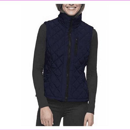 Andrew Marc Women's Quilted Vest,Full-Zip, Ink, Size S