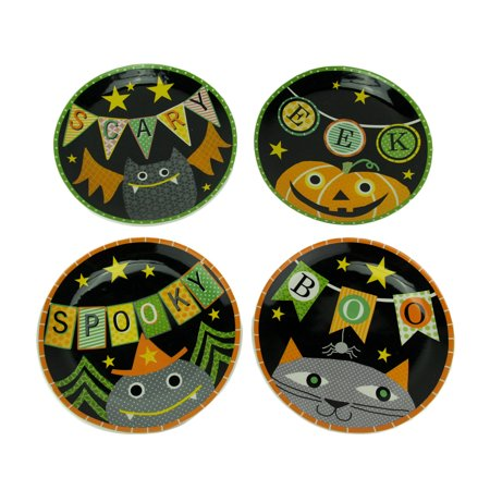 Set of 4 Whimsical Halloween Ceramic Plates 11 Inch (Halloween Plates Ceramic)