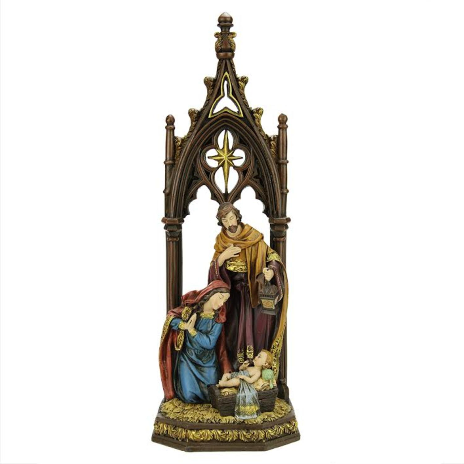 "12"" Jewel Tones Religious Holy Family with Regal Arch Christmas Nativity Figure"