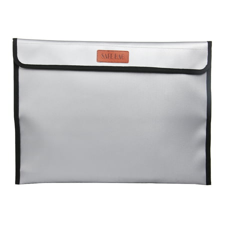 15 * 11inch Fireproof Document Bag Holder Pouch Non-Itchy Silicone Coated Household Office Fire & Water Resistant File Folder Safe Storage for Jewelry Cash Letters Valuables