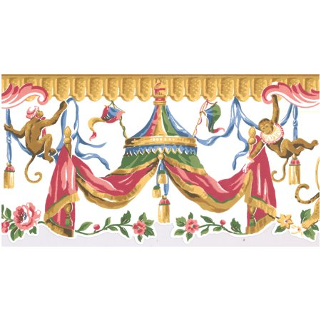 Prepasted Wall Border - Oriental Monkeys on Colorful Curtains Scalloped White Kids Wallpaper Border Retro Design, Roll 15 ft X 9 in Oriental Wallpaper Border