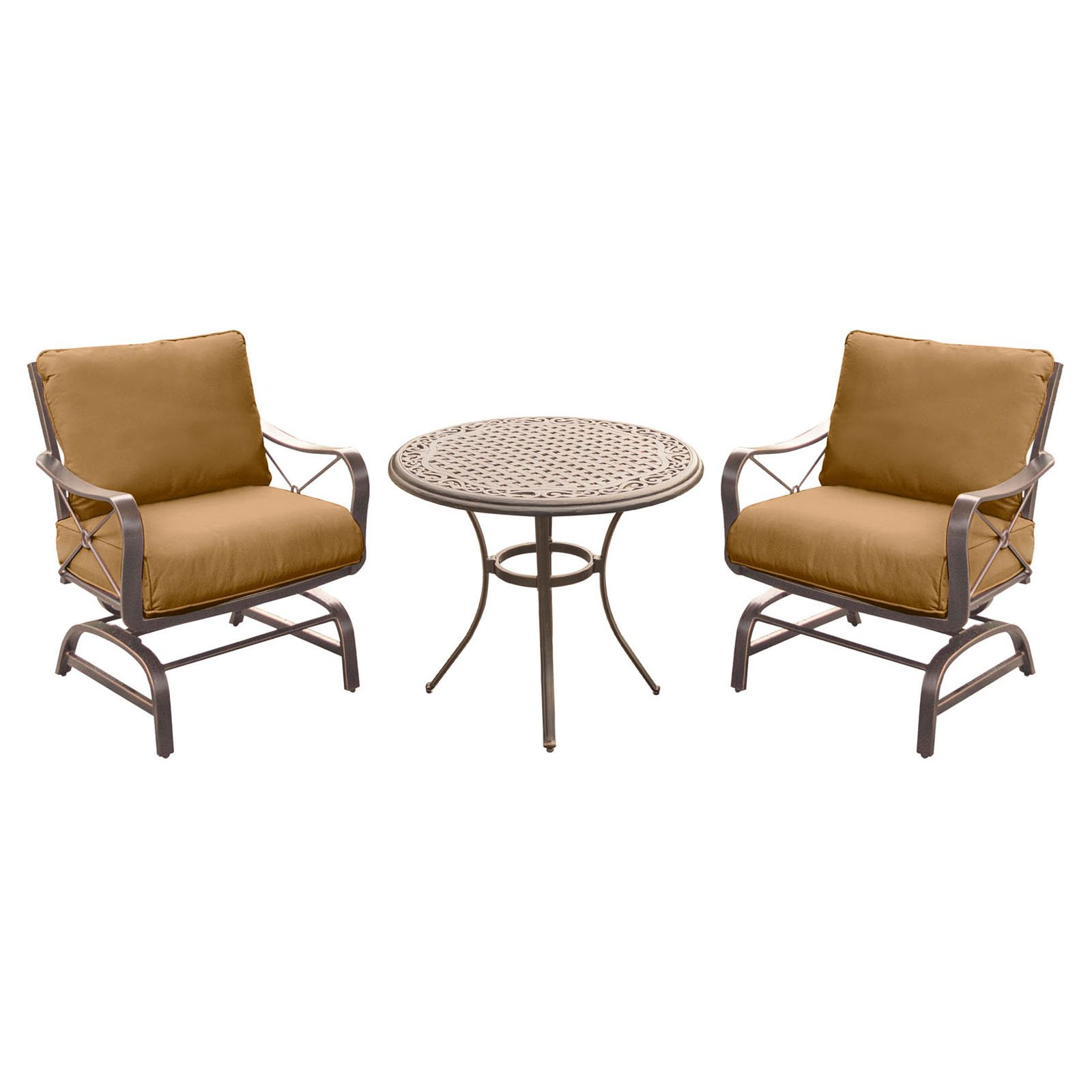 Hanover Outdoor Summer Nights 3-Piece Chat Set with Cast-Top Table and Aluminum-Frame Rockers, Desert Sunset