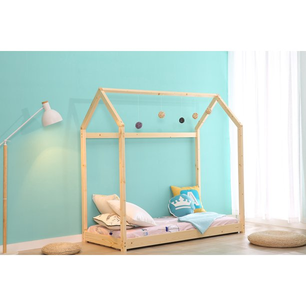 Walsport Children Toddler House House Bed Furniture Premium Wood Frame Floor Bed Kids Tent Bedroom Princess Self-Decorated for Boys & Girls Small