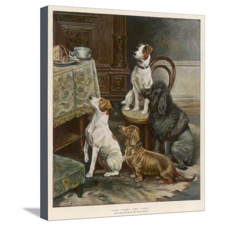 Four Dogs Lust after Their Owners' Food Stretched Canvas Print Wall Art By Fanny Moody ()