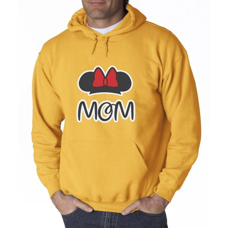 Trendy USA 671 - Adult Hoodie MOM FAN Minnie Ears Bow Family Sweatshirt Medium Gold