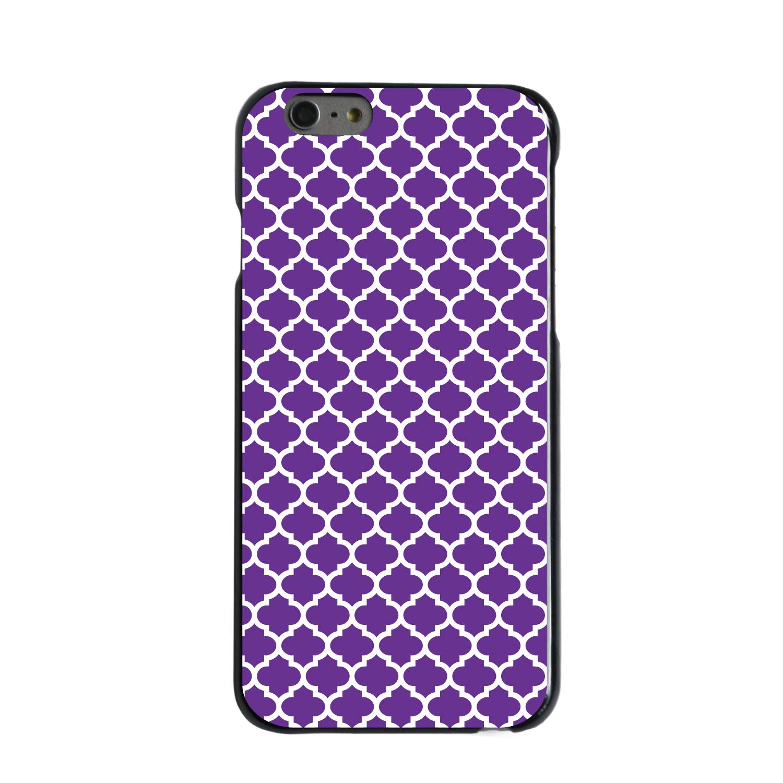 "CUSTOM Black Hard Plastic Snap-On Case for Apple iPhone 6 PLUS / 6S PLUS (5.5"" Screen) - Purple White Moroccan Lattice"