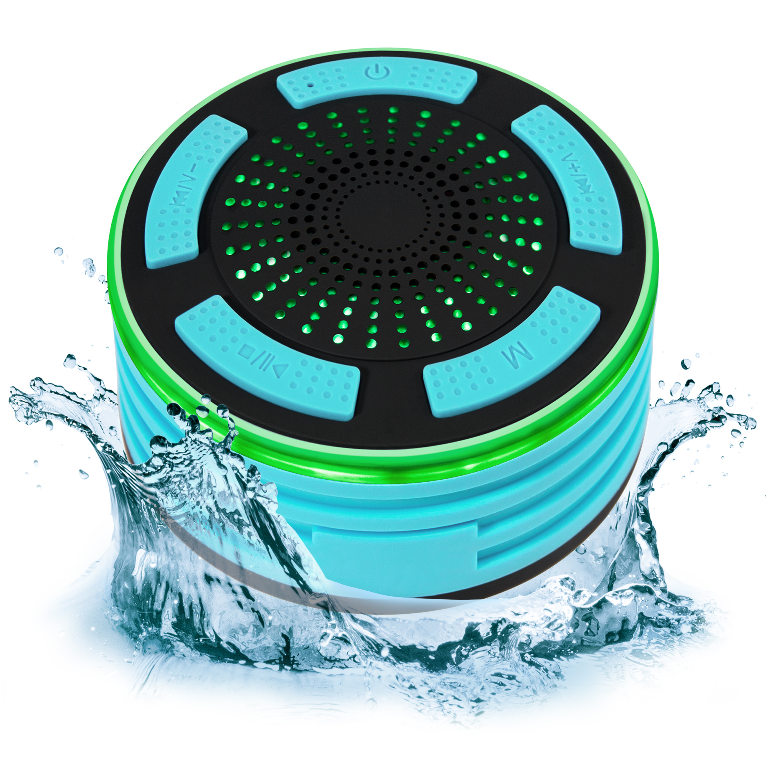 Best Choice Products Portable Waterproof Floating Bluetooth Speaker w/ FM Radio, Microphone, LED Lights - Aqua Blue