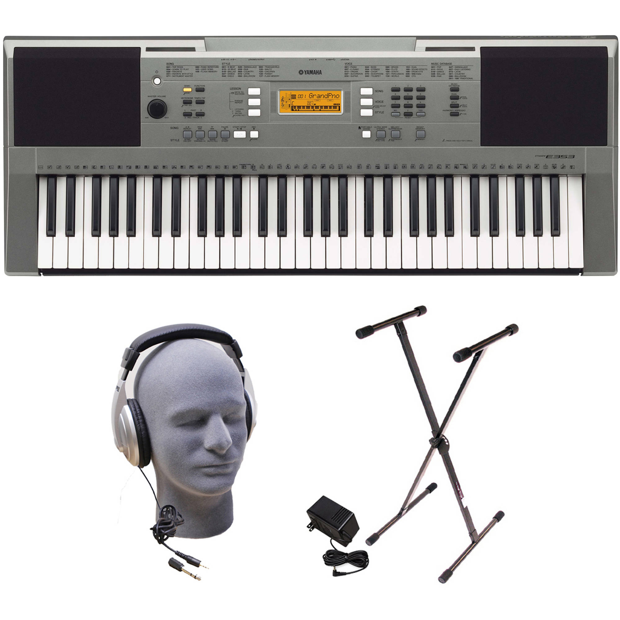 Yamaha PSRE353 Portable Keyboard Package with Headphones, Power Supply and Stand by Yamaha