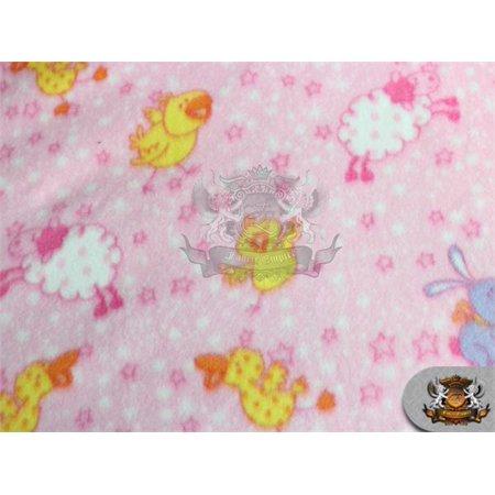 "Fleece Fabric Printed *ANIMAL STAR* / 58"" W / Sold by the yard N-448"
