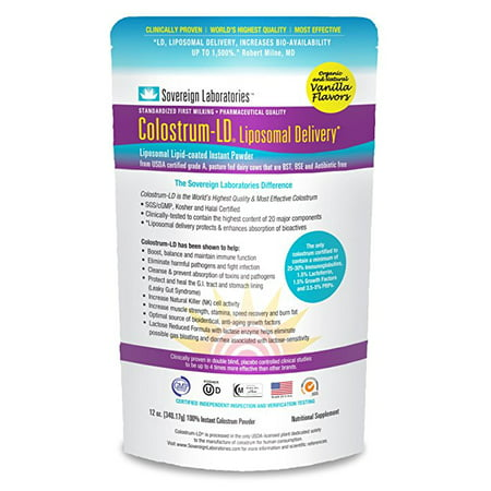 Sovereign Laboratories Colostrum-Ld 12oz Vanilla Powder With Proprietary Liposomal Delivery (Ld) Technology For Up To 1500% Better Bioavailability Than Regular Bovine Colostrum