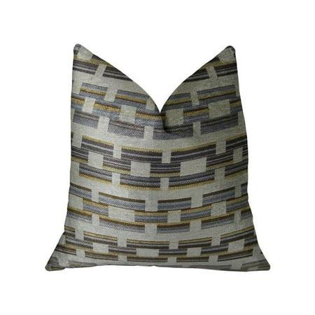 Foursquare White & Gray Handmade Luxury Pillow, 24 x 24 in. - image 1 de 1