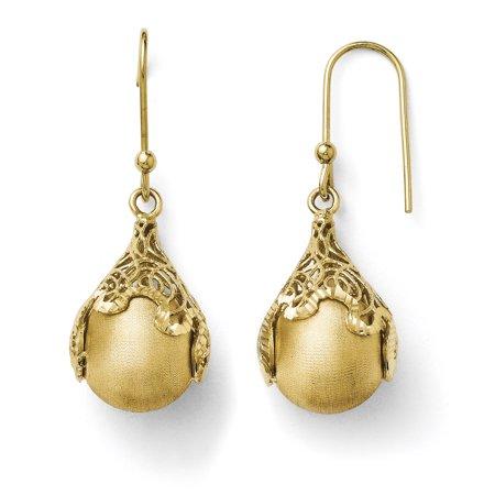Roy Rose Jewelry Leslies 14K Yellow Gold Polished And Satin Diamond Cut Teardrop Shepherd Hook Earrings